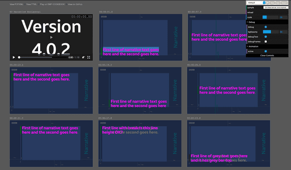 screenshot of the accessible narrative text playground
